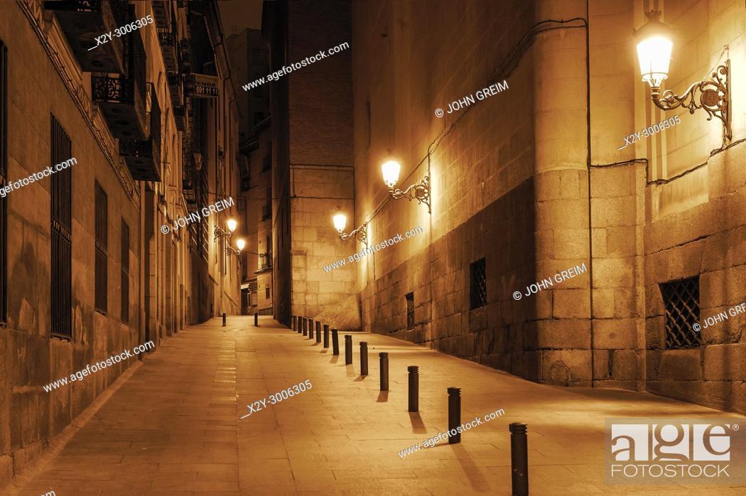 Stock Photo: Charming old city pedestrian street, Madrid, Spain.