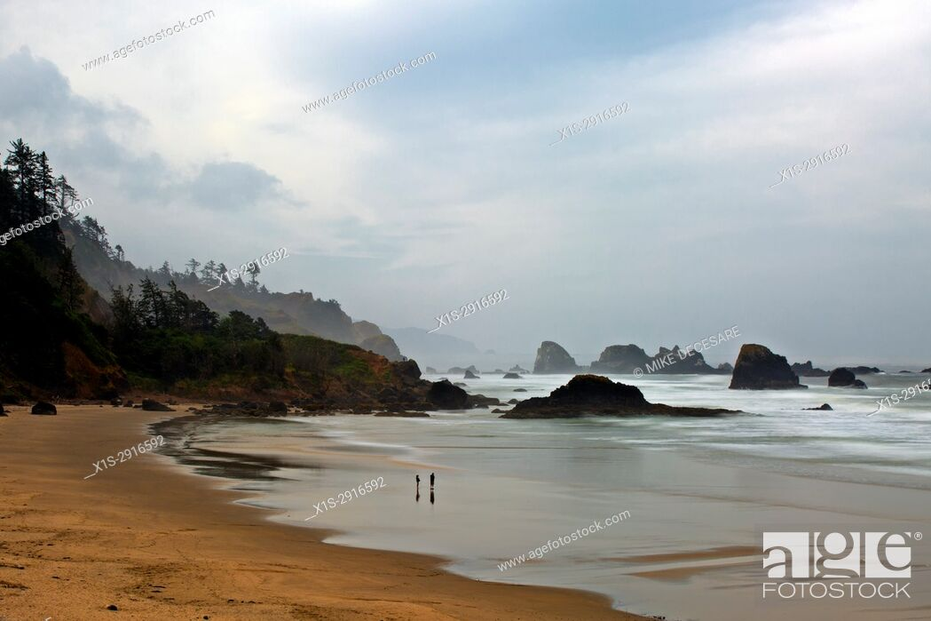 Stock Photo: Early morning fog and cloudy skies greet the first visitors on Indian Beach, Ecola State Park, Oregon.