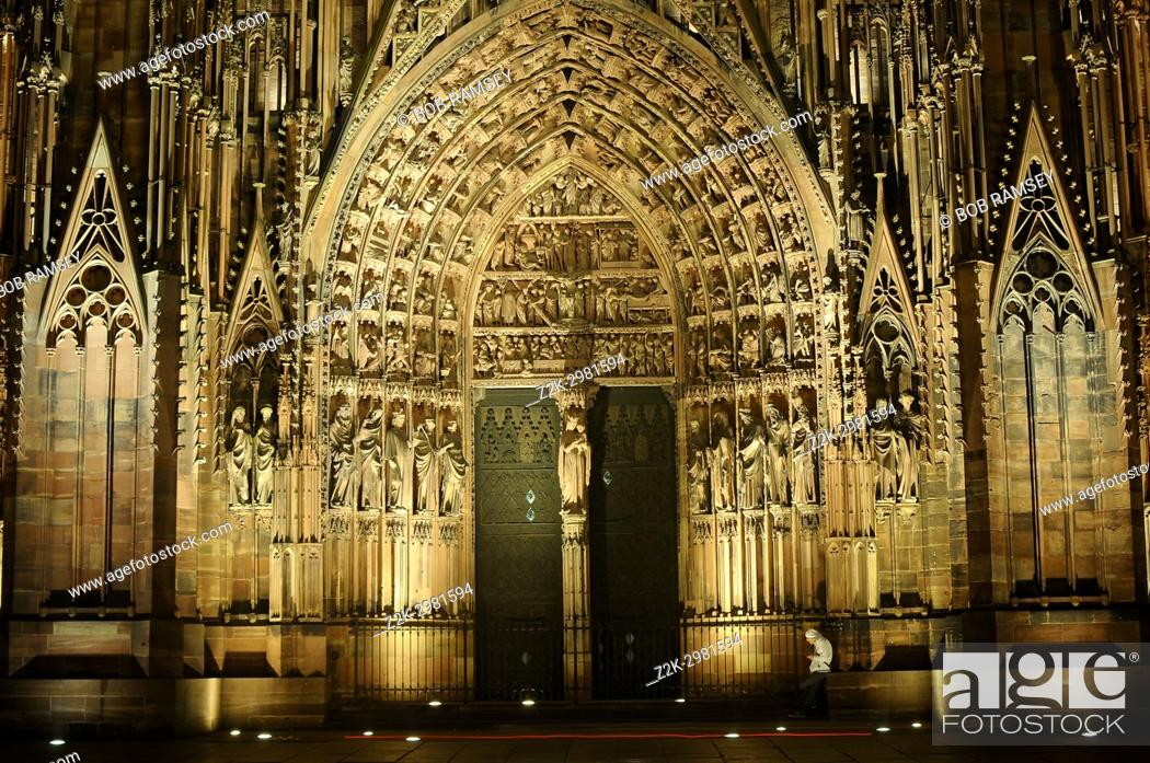 Stock Photo: Façade of Strasbourg Cathedral by night, Strasbourg, France.