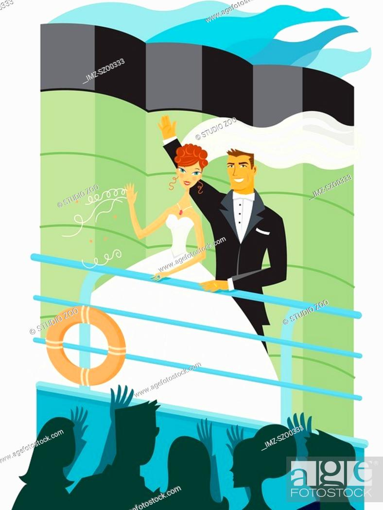 Stock Photo: Honeymooners leaving on a cruise.