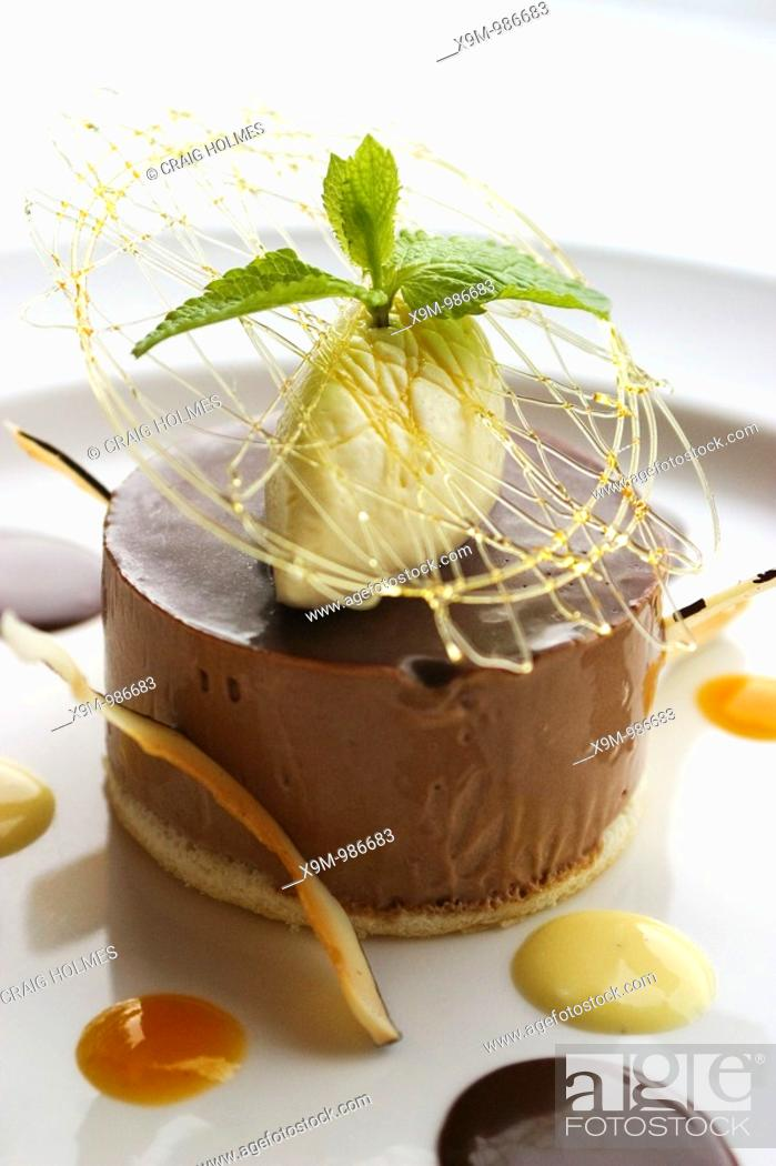 Stock Photo: Bank restaurant, providing premium food and drinks at Brindleyplace  Food is chocolate and coconut parfait.