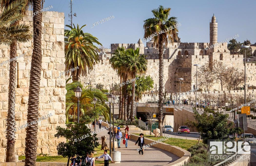 Stock Photo: Walls and the Citadel of David in the Old City of Jerusalem, Israel.