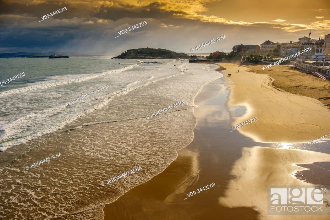 Stock Photo: Panoramic view at sunset of Sardinero beach on a winter day, Cantabrian Sea Santander. Cantabria Spain. Europe.