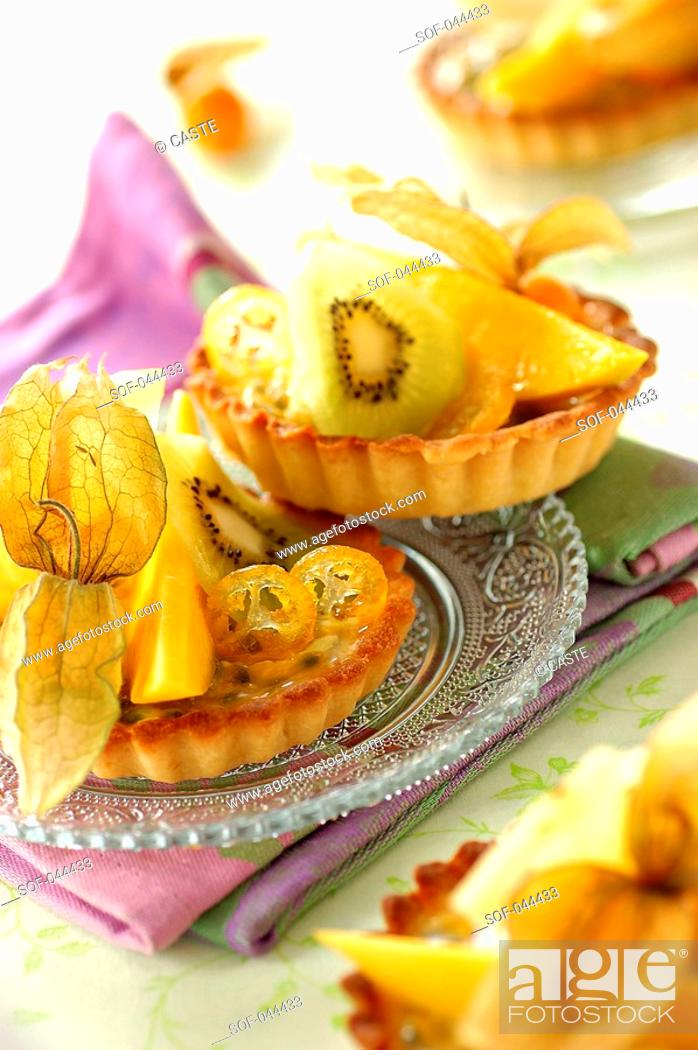 Stock Photo: mini exotic fruit tarts.