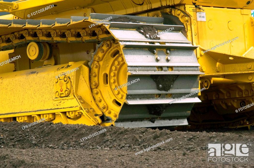 Stock Photo: Detail of bulldozer tracks.