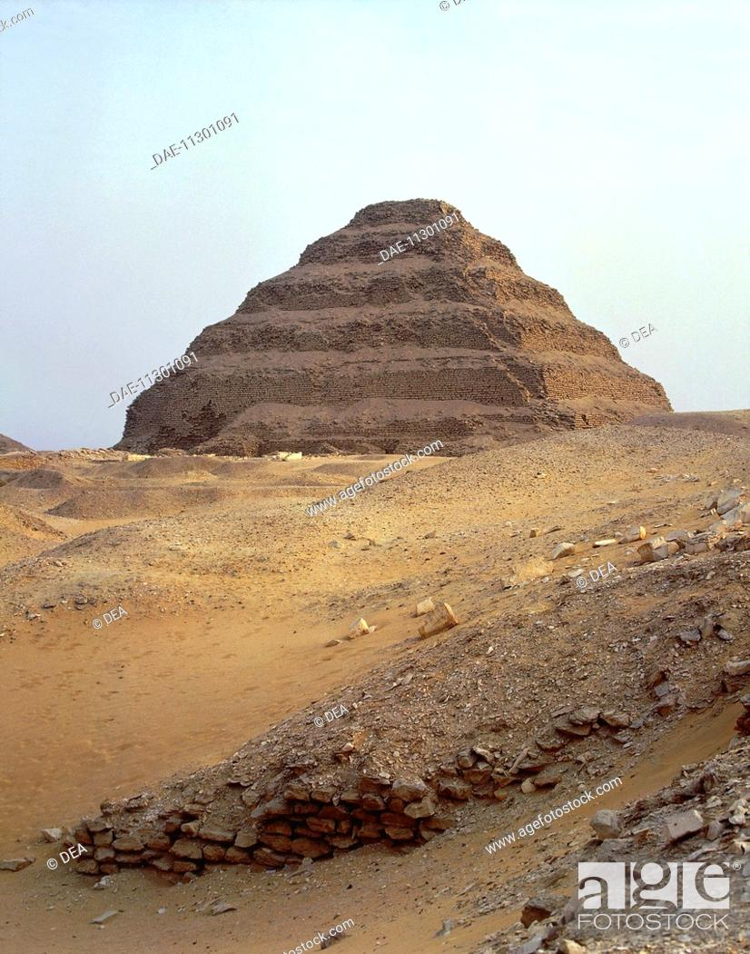 Stock Photo: Egypt - Cairo - Ancient Memphis (UNESCO World Heritage List, 1979). Saqqara. Funerary monument to king Djoser 'Step Pyramid'. Old Kingdom, Dynasty III.