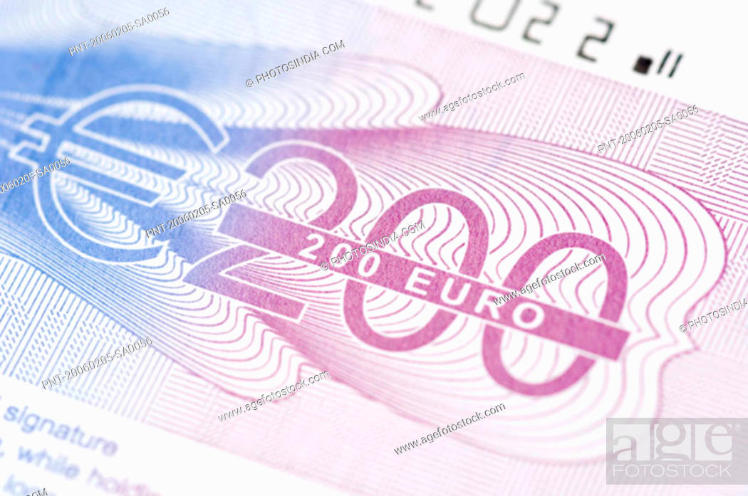 Stock Photo: Close-up of a two hundred euro banknote.