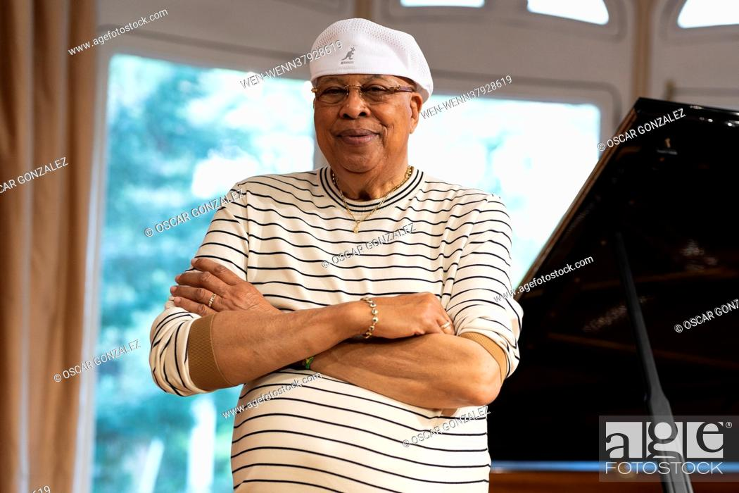 Stock Photo: Legendary Cuban musician Chucho Valdes poses during a portrait session in Madrid, Spain Featuring: Chucho Valdes Where: Madrid.