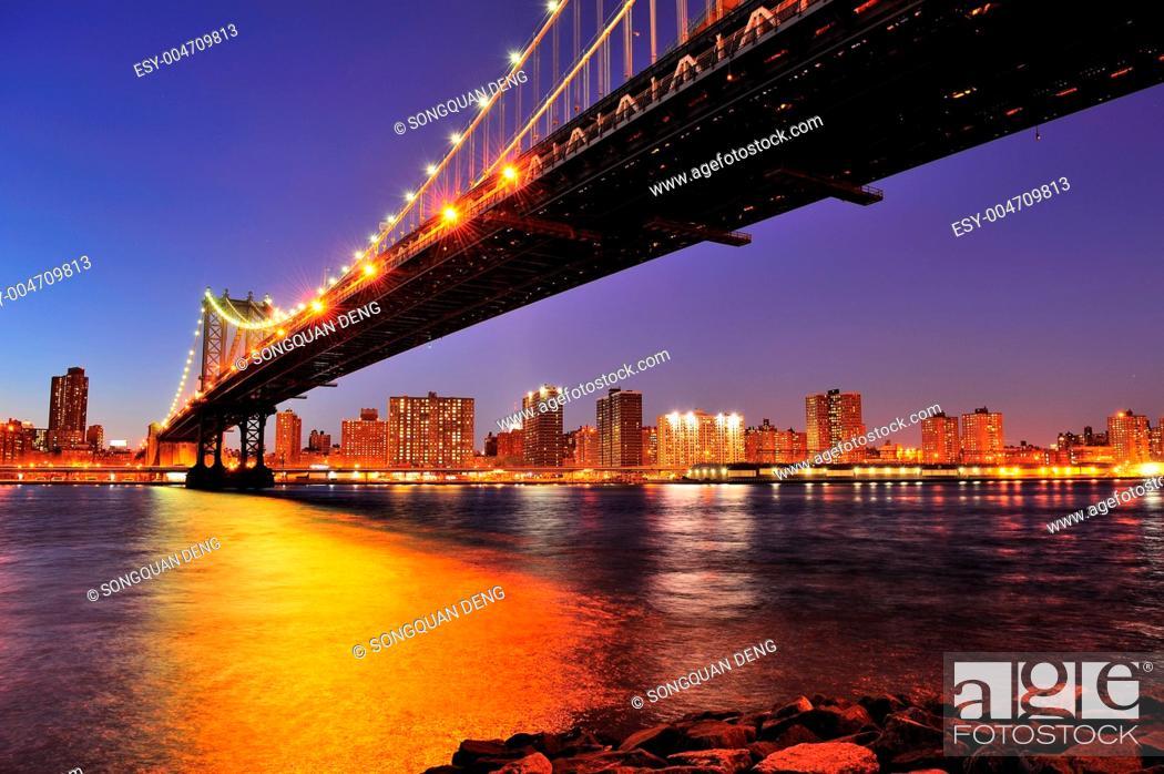 Stock Photo: New York City Manhattan Bridge over East River.