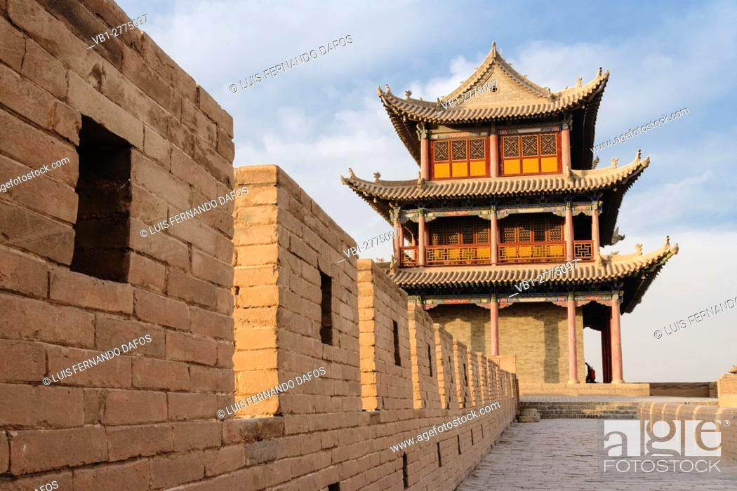 Stock Photo: Jiayuguan fort at the western confine of the Great Wall. Jiayuguan, Gansu province, China, Asia The pass was a key waypoint of the ancient Silk Road.