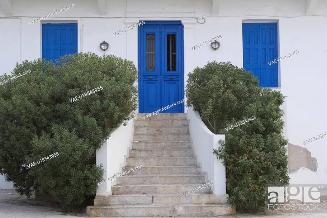 Stock Photo: Balustrade, Blue, Building Exterior, Building Structure, Closed.
