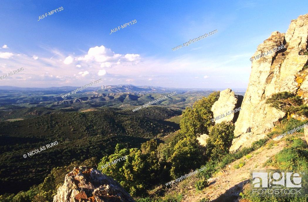 Stock Photo: France - Pyrenees Orientales - Forca Real - Vue sur les fenoulledes.