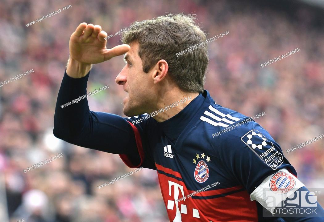 Stock Photo: Bayern's Thomas Mueller pictured during the German Bundesliga football match between FSV Mainz 05 and Bayern Munich at the Opel Arena in Mainz, Germany.