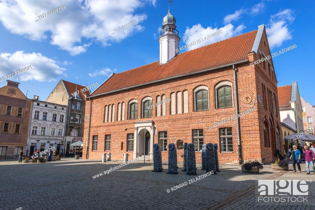 Stock Photo: Former City Hall building, today the library on the Old Town of Olsztyn city in Warmian-Masurian Voivodeship of Poland.