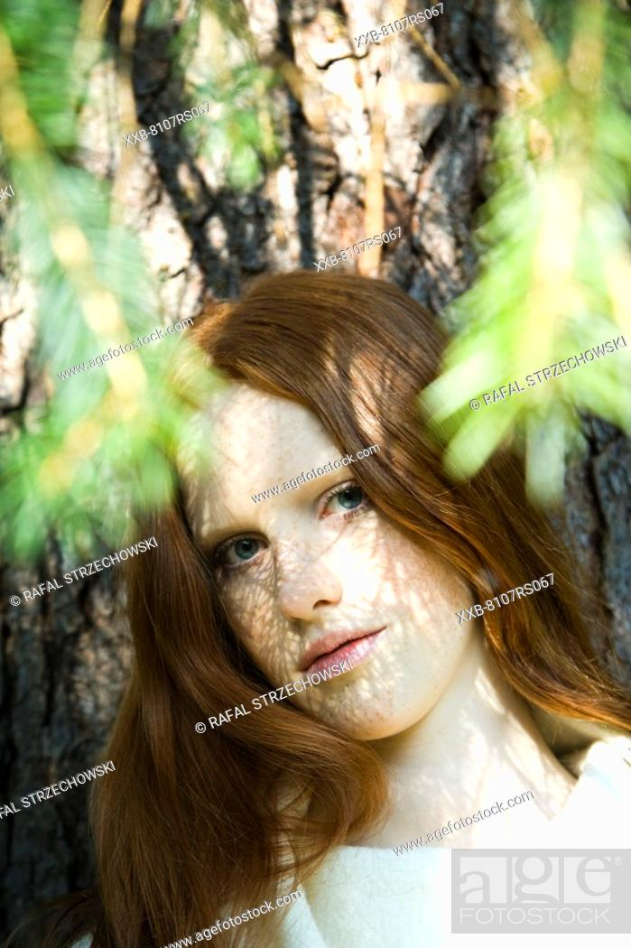 Stock Photo: Young ginger woman portrait.