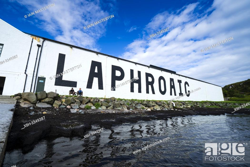 Stock Photo: View of Laphroaig Distillery on island of Islay in Inner Hebrides of Scotland, UK.