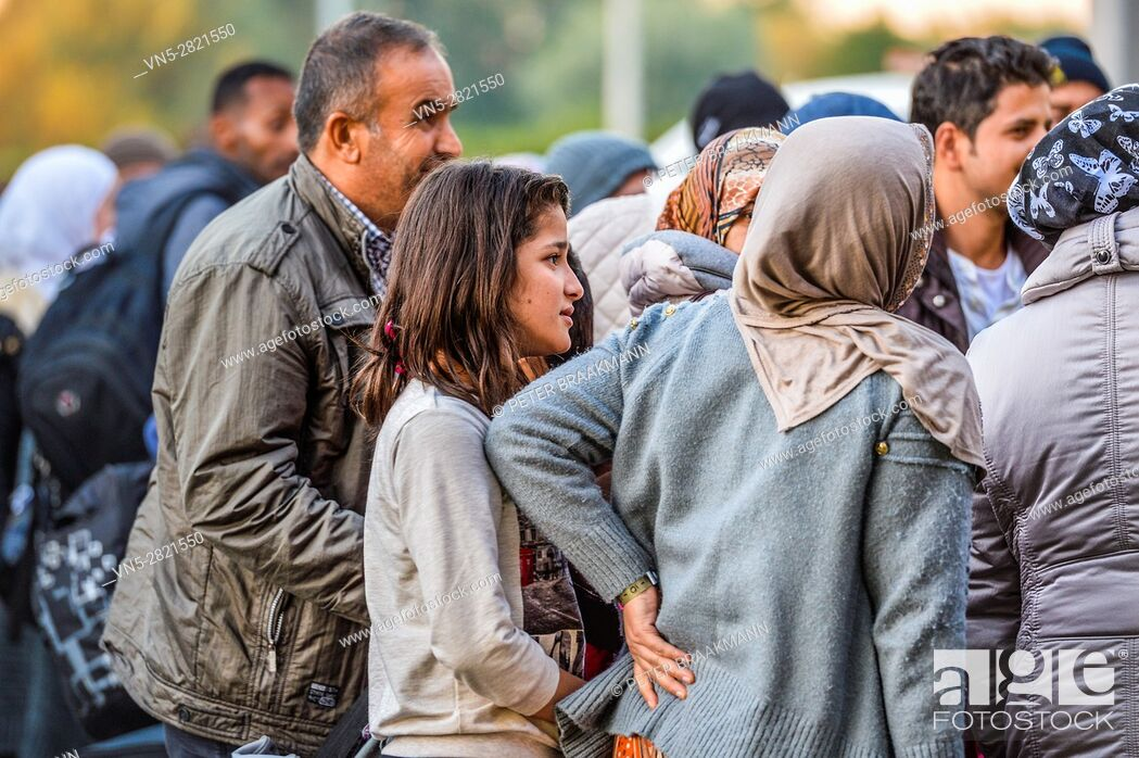 Stock Photo: ROOSENDAAL, THE NETHERLANDS OCTOBER 2: Arrival two hundred refugees on Metsj Point in Roosendaal on October 2, 2015 in Roosendaal, The Netherlands.