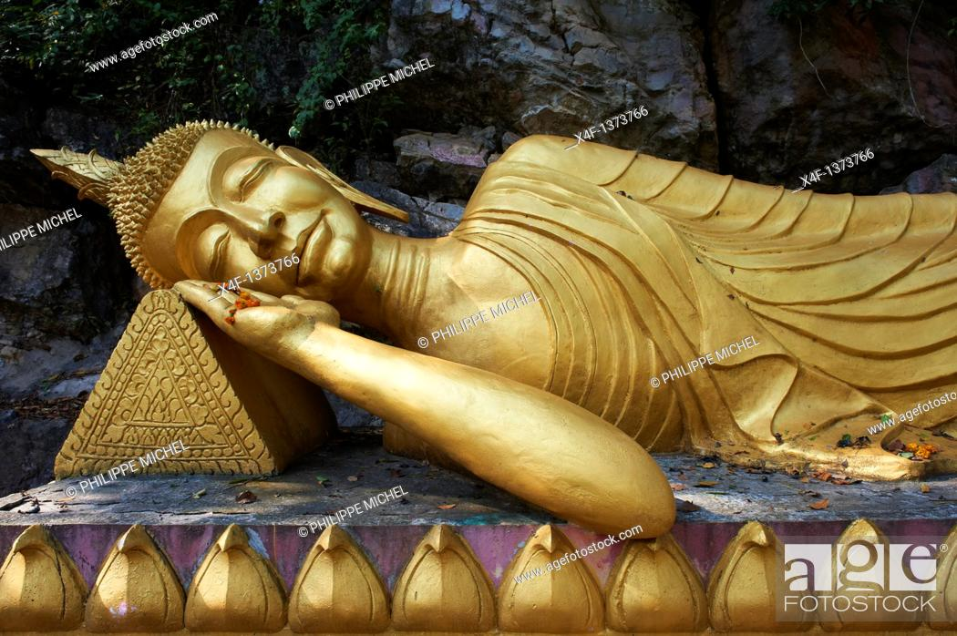 Stock Photo: Laos, Province of Luang Prabang, city of Luang Prabang, World heritage of UNESCO since 1995, Phu Si Hill, Statue of Bouddha.