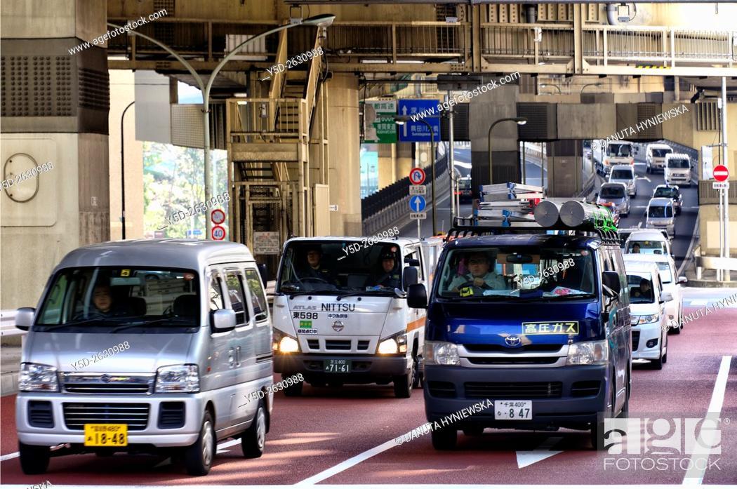 Stock Photo: Hakozaki junction of Metropolitan Expressways 6 and 9, near Tokyo City Terminal, Nihonbashi-Hakozaki-cho, Chuo , Chuo-ku, Tokyo, Japan.