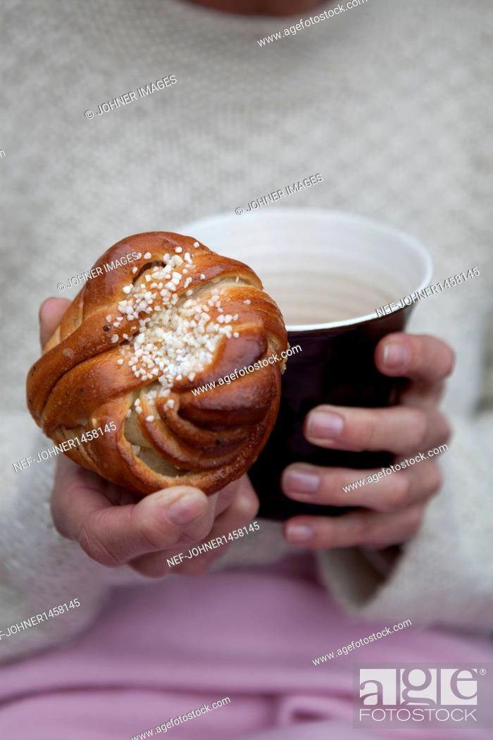 Stock Photo: Portrait of mature woman during coffee break.