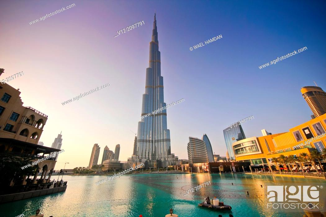 Stock Photo: Burj Khalifa, Burj Dubai, the tallest building in the world in downtown Dubai.