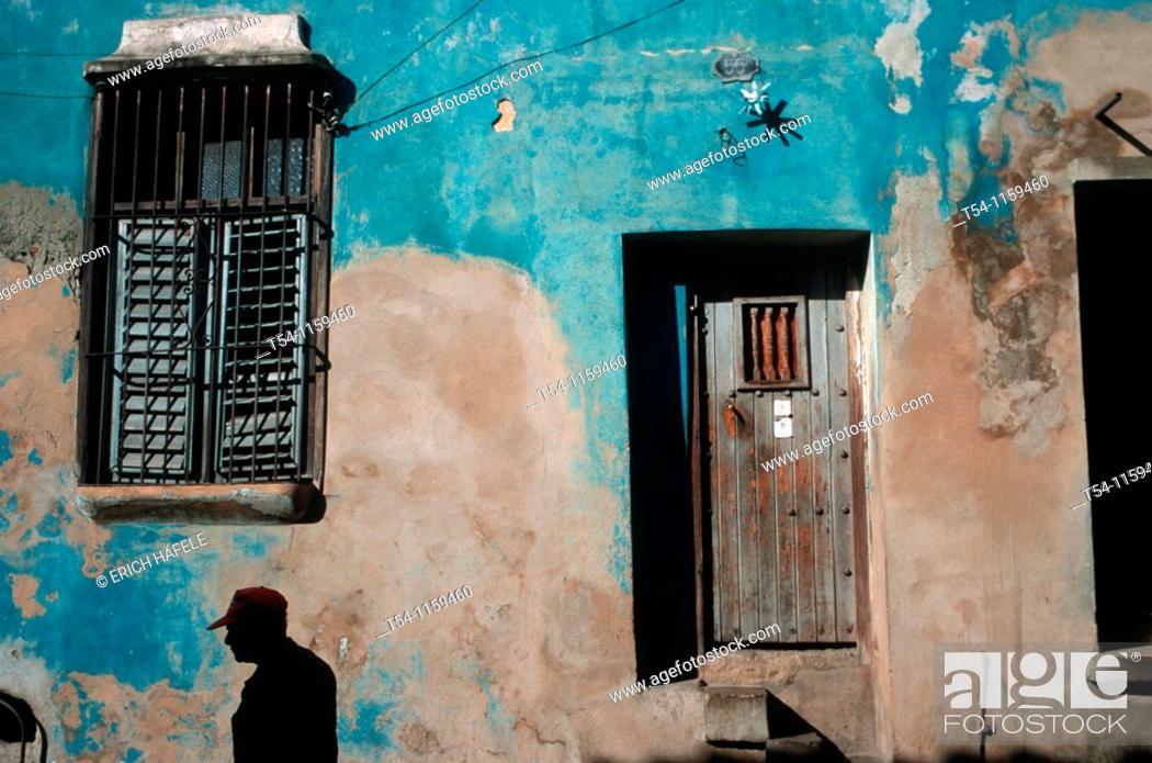 Stock Photo: Colors of a house wall in Santiago de Cuba.