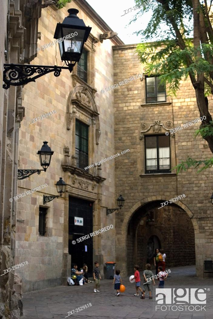 Stock Photo: Sant Felip Neri Square, Civil War signs, Gothic Quarter, Barcelona, Catalonia, Spain, Europe. In the Middle Ages, Barcelona became the Ciutat Comtal (Count's.