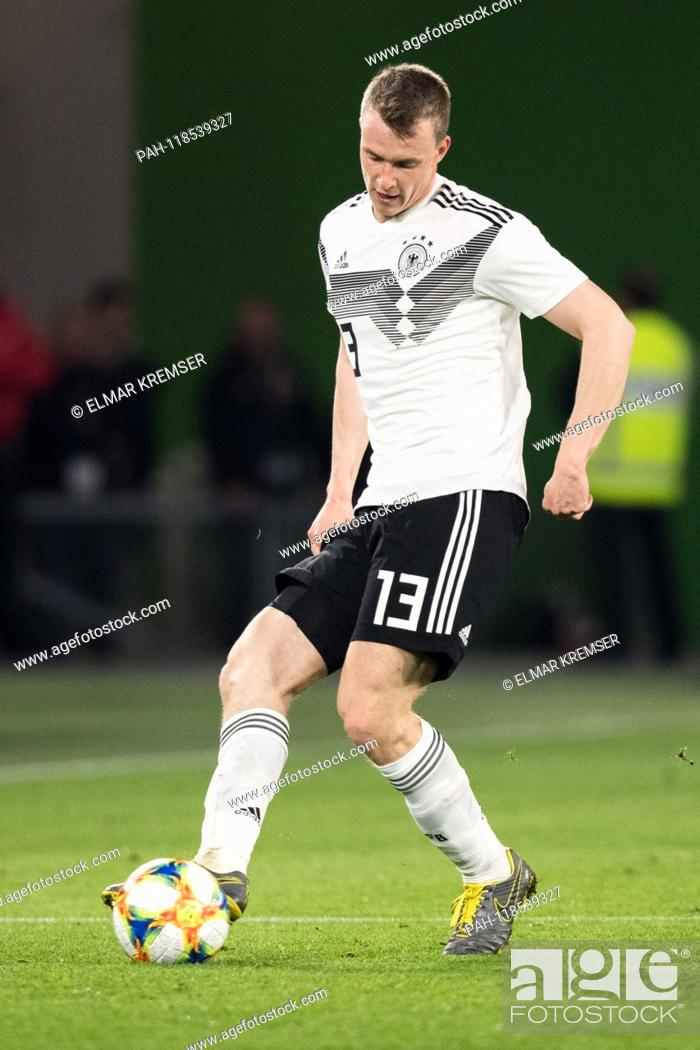 Stock Photo: Lukas KLOSTERMANN (GER) with Ball, Single action with Ball, Action, Full figure, upright, Football Laenderpiel, Friendly Match.