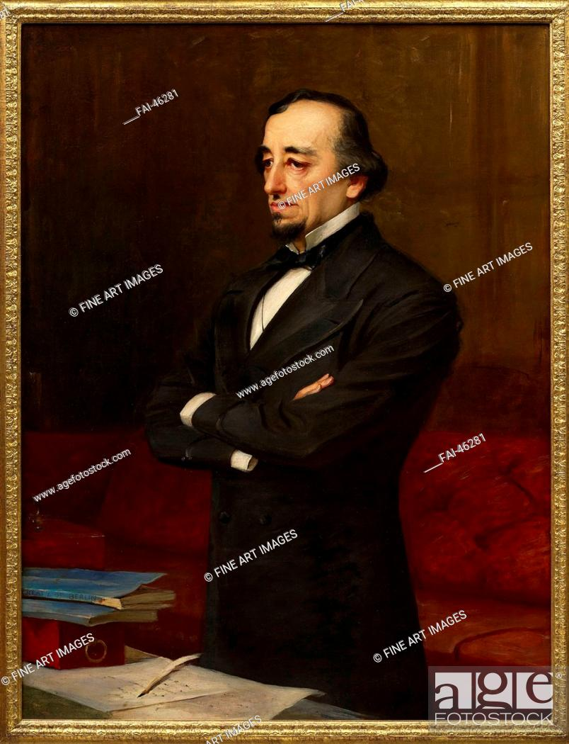 Stock Photo: Portrait of Benjamin Disraeli, 1st Earl of Beaconsfield (1804-1881) by Weigall, Henry, the Younger (1829-1925)/Oil on canvas/Realism/Great Britain/Private.