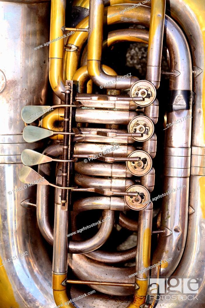 Stock Photo: Detail of a Tuba. Celebration of Remedios in Castro Caldelas, Orense, Spain.