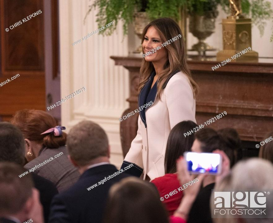 Stock Photo: Melania Trump arrives for a news conference with United States President Donald J. Trump and the President of the Republic of Poland Andrzej Duda at The White.
