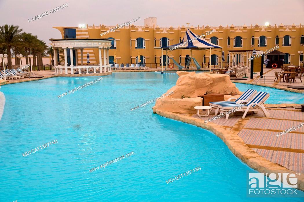 Stock Photo: Qatar - Al Khor - Al Sultan Beach Resort - The swimming pool.