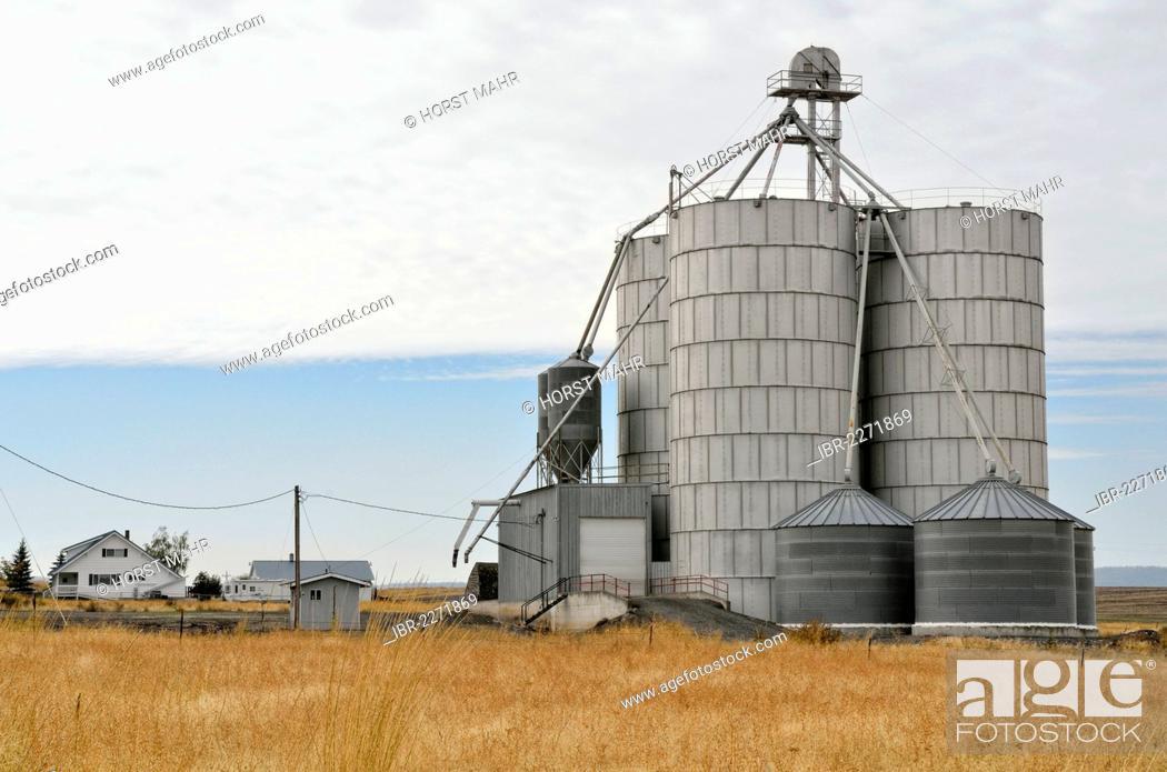 Stock Photo: Grain silos, Anatone, Highway 129, Washington, USA.