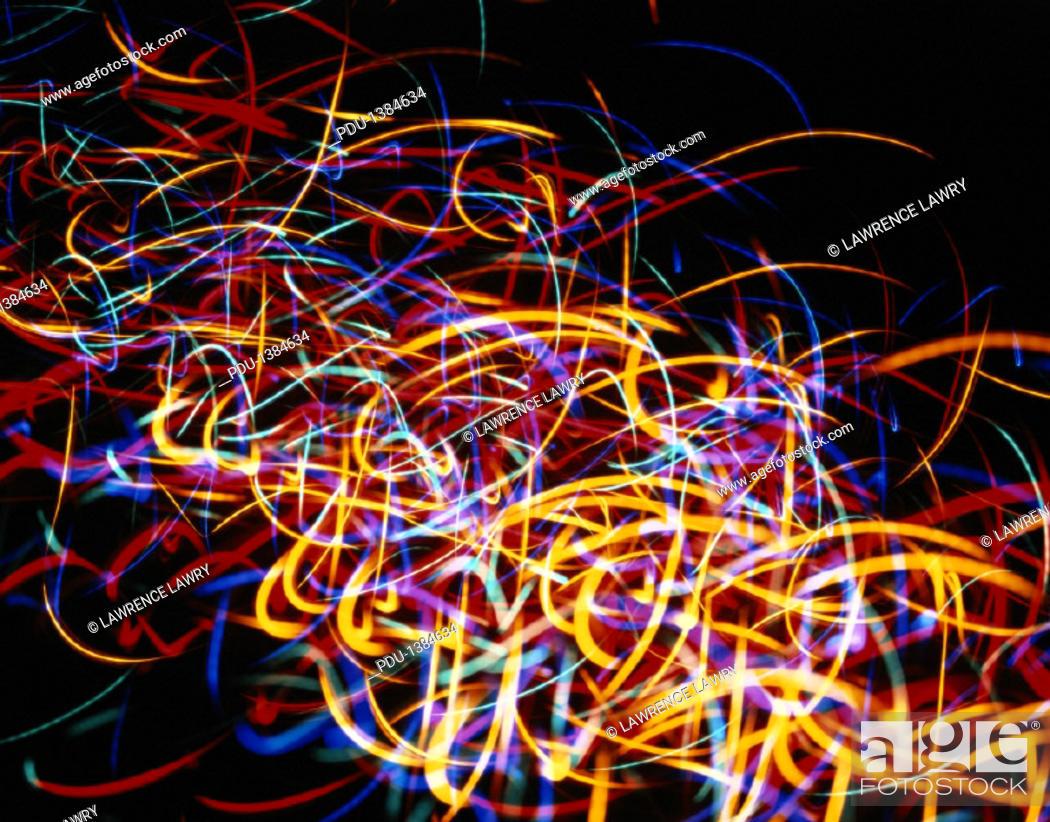 Stock Photo: Multicolored Scribble Light Effect.