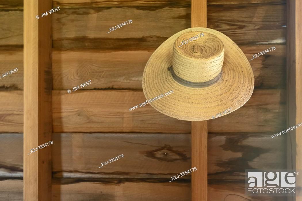 Stock Photo: Thibodaux, Louisiana - A hat on the wall in the kitchen of the E. D. White Historic Site.