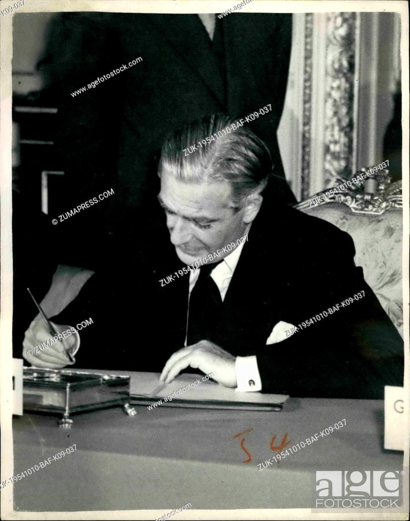 Stock Photo: Oct. 10, 1954 - Agreement Reached at nine -power conference. photo shows Mr. Anthony Eden , seen at today;s singing at Lancaster house.