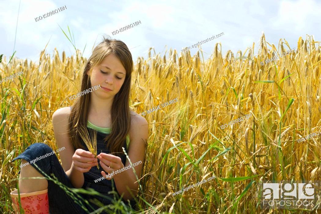 Stock Photo: A girl sitting in a corn field.