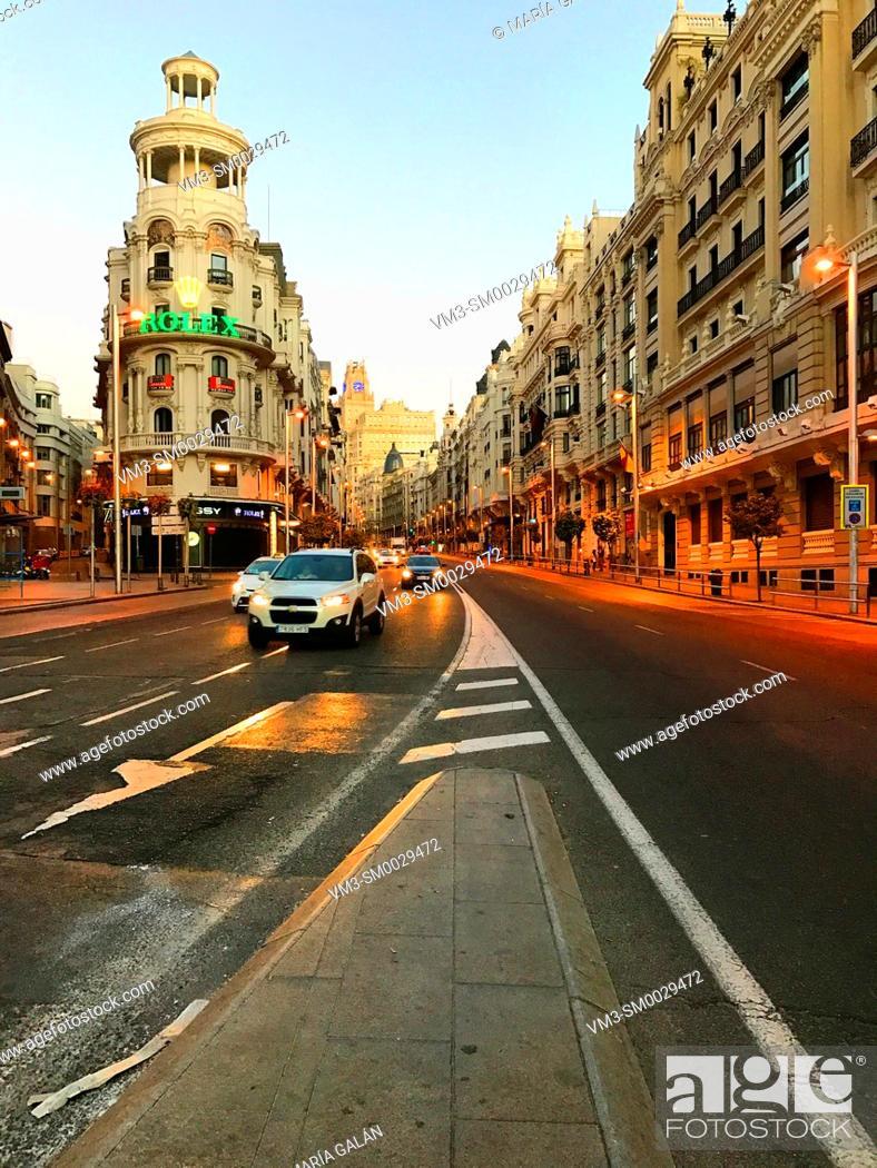 Stock Photo: Gran Via street. Madrid, Spain.