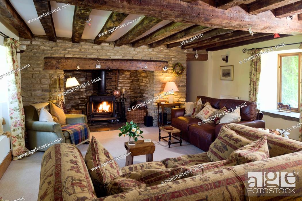 Log Burning Stove Exposed Stone Walls, Cottage Living Room
