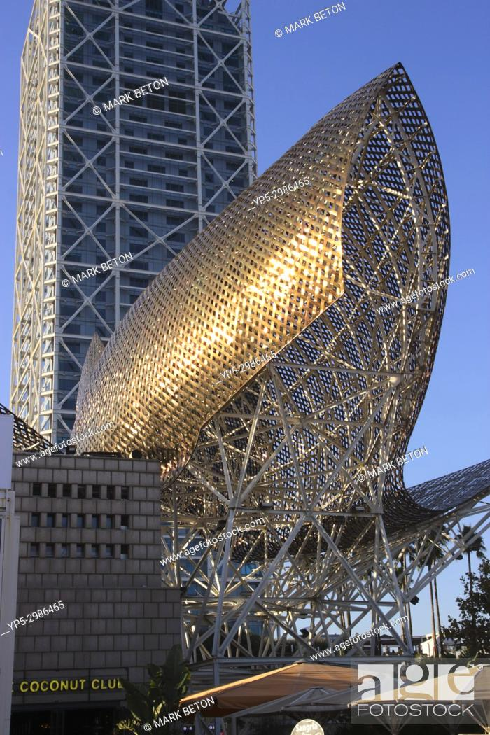 Stock Photo: Fish sculpture by Frank Gehry, Barcelona Waterfront, Spain.