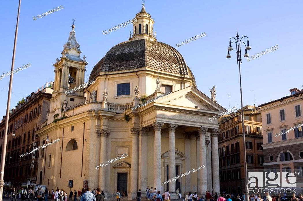Stock Photo: Tourists in front of a church, Santa Maria Di Montesanto, Piazza Del Popolo, Rome, Italy.