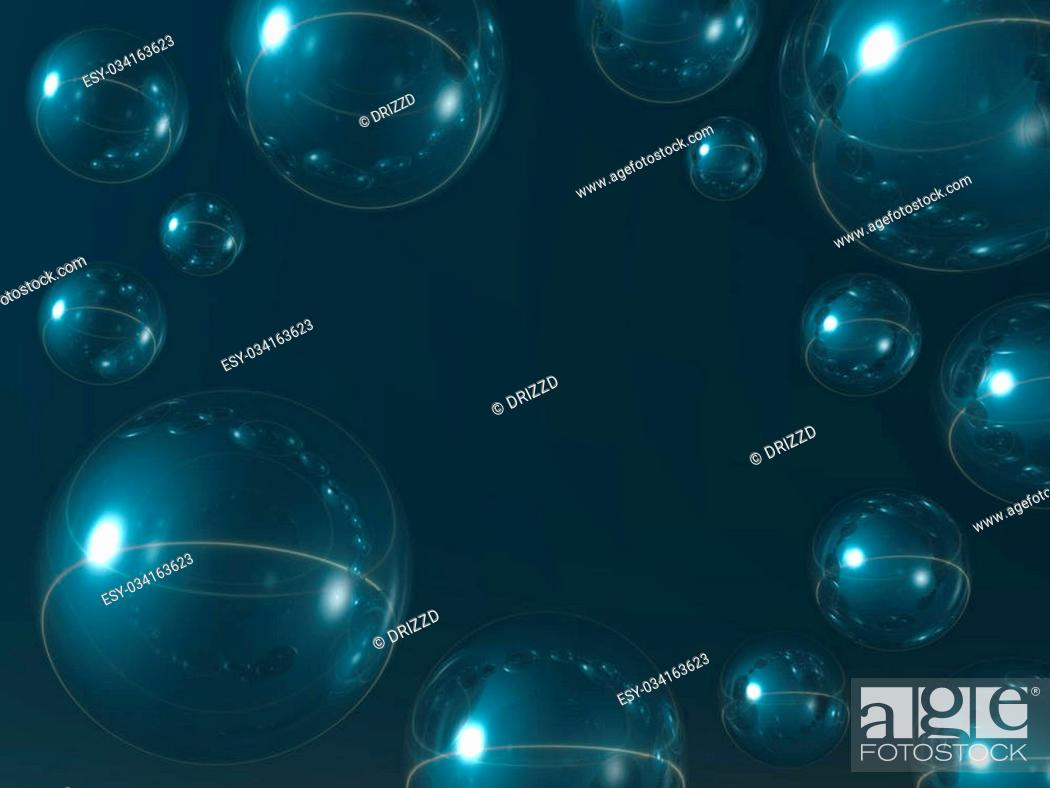 Imagen: bubbles on blue background - abstract 3d illustration.