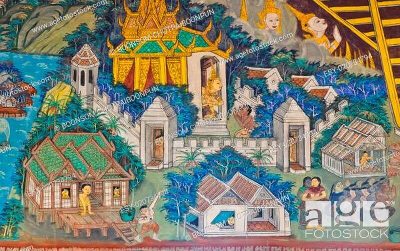 Imagen: Ancient Buddhist temple mural depicts Thai lifestyle in the past.