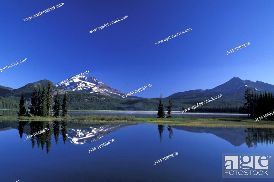 Stock Photo: Deschutes, National Forest, Oregon, Sparks Lake, South Sister, USA, America, United States, landscape, lake, mountai.