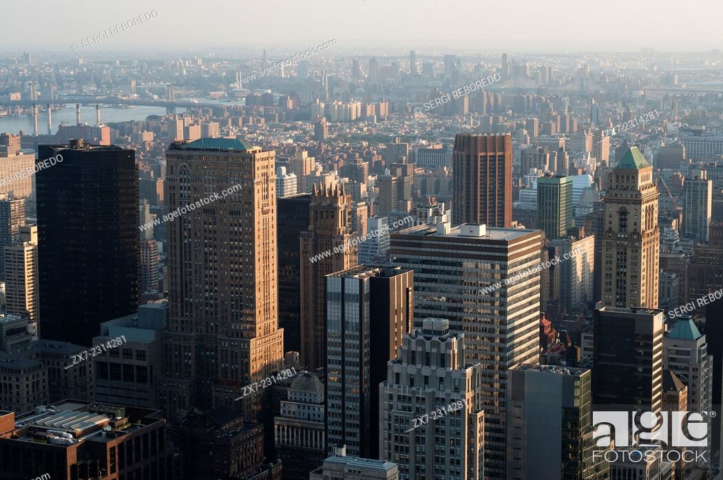 Stock Photo: USA, New York City, Aerial views of Midtown West & Theater District.