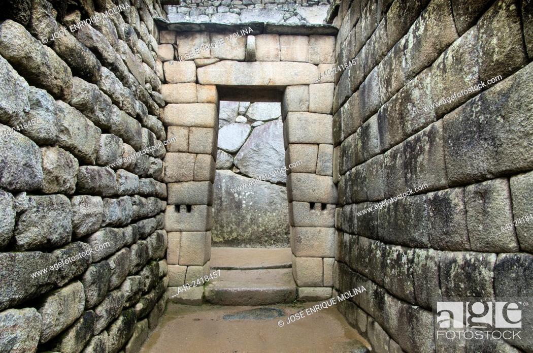 Stock Photo: Archaeological site of Machu Picchu, Cusco, Peru. Sun temple and mausoleum.