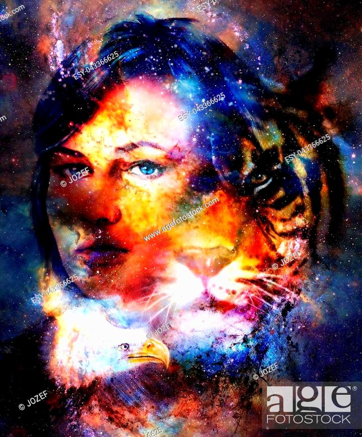 Imagen: Goodnes woman and tiger and eagle. Cosmic Space background.