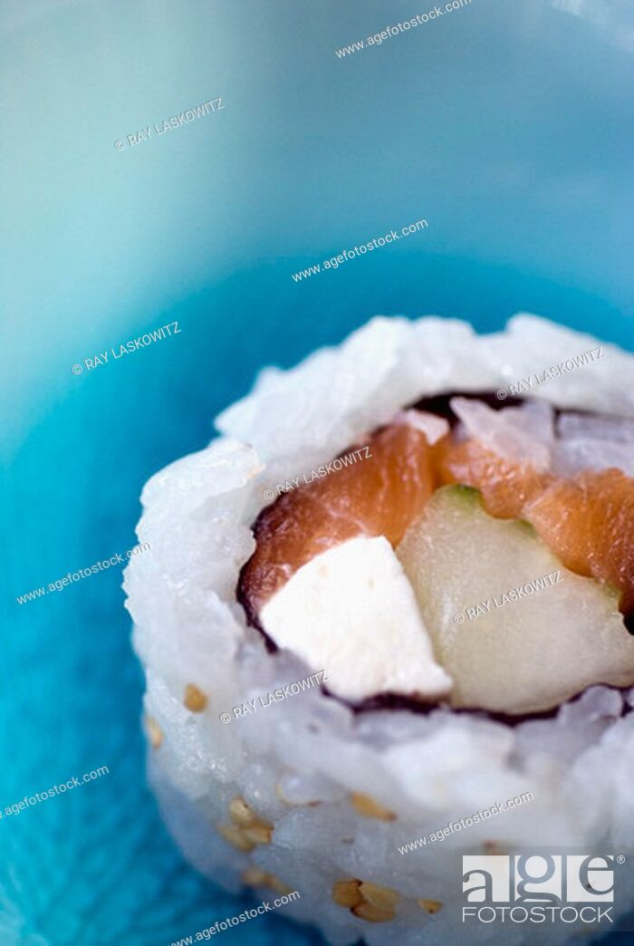 Stock Photo: Close-up of a sushi roll.