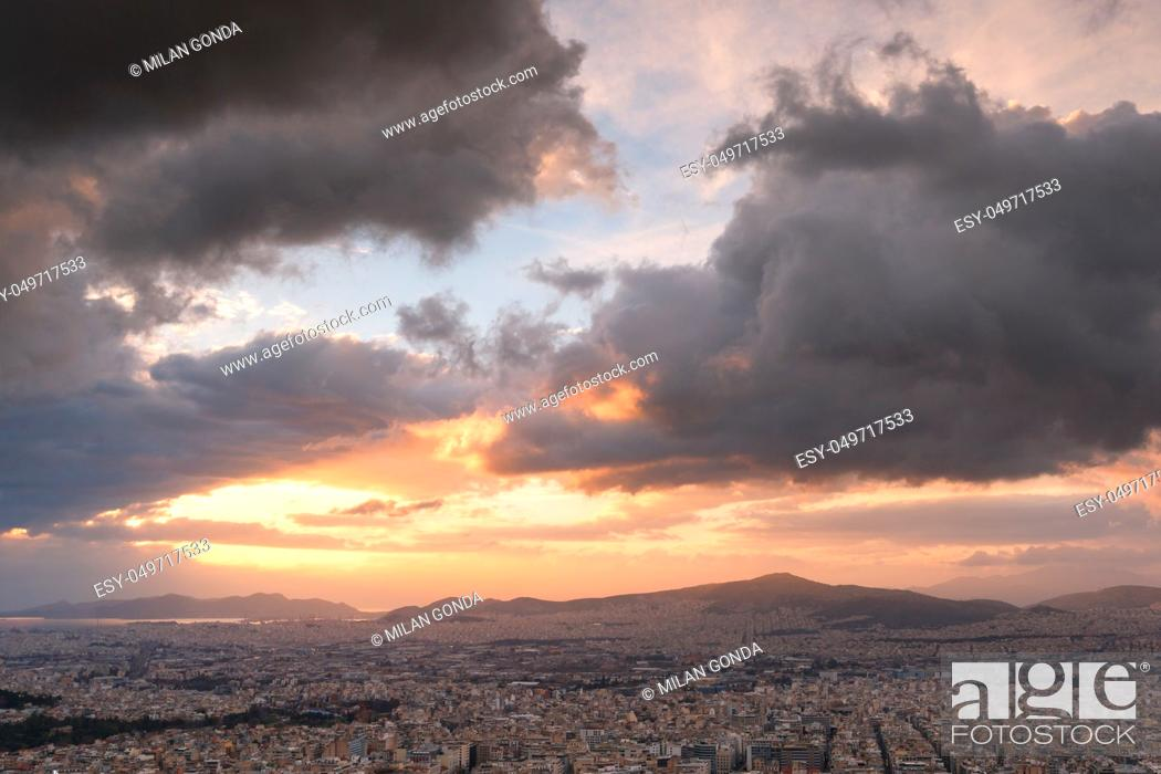 Stock Photo: Evening view of Athens from Lycabettus hill, Greece.