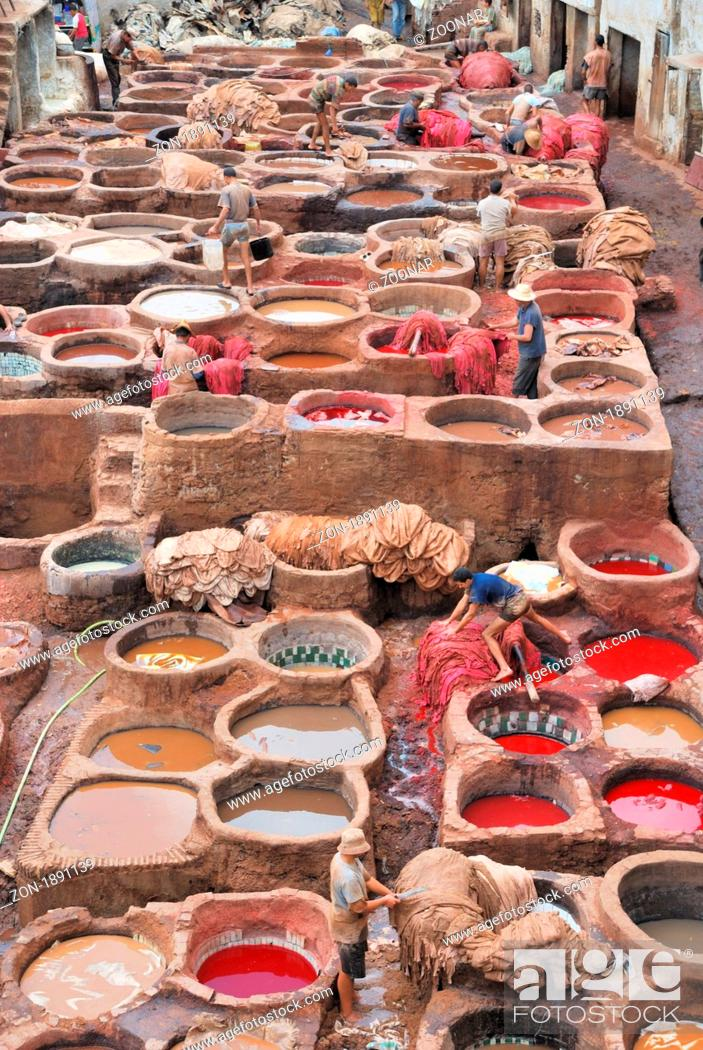 Stock Photo: Chuwwara tanners, the tanning district in the Medina of Fez el-Bali, Fez, Morocco, Africa.